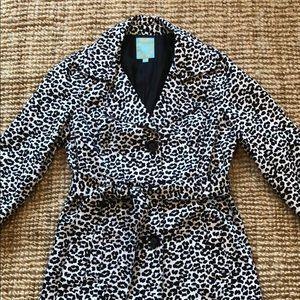 NWOT Forever 21 Leopard Spring Coat Black White M